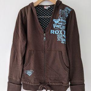 Brown Roxy zip up hooded sweatshirt